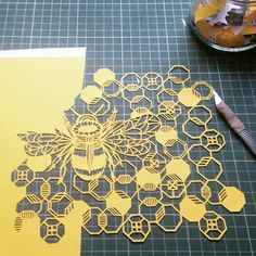 Happy to be cutting again after 4 days off #paper #paperart #papercut #papercutting #handcut #handmade #handdrawn #cutting #prettypaperdreams #scalpel #honeycomb #bee #bumblebee #pattern #prettypaperdreams