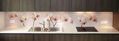 Our pimped kitchens section shows you our splashback designs in a finished kitchen: Orchids in Kim's kitchen