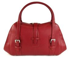 AUTHENTIC-LOEWE-BRICK-RED-LEATHER-SHOULDER-HAND-BAG-PURSE-MADE-IN-SPAIN