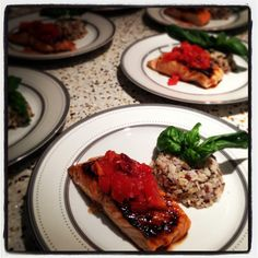 Broiled Glazed Salmon with Blood Orange and Tomato salsa, harvest rice ...