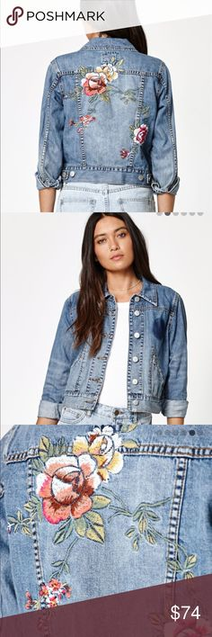 BILLABONG DENIM FLORAL JACKET THIS IS YOUR JEAN JACKET! BEAUTIFUL EMBROIDERED FLORAL DETAL. WITH THAT SLOGHT DISTRESSED LOOK. DESCRIPTION IN LAST PHOTO. I OPEN AND INSPECT EVERY ITEM. I TAKE SEVERAL PHOTOS. NO TRADES. Billabong Jackets & Coats Jean Jackets