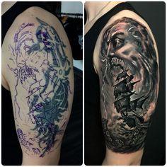 Greek Mythology Cover up Tattoo by Seb Limited Availability @ Revelation Tattoo Studios Northampton. Revelation Tattoo, Mario Tattoo, Up Tattoos, Greek Mythology, Tattoo Studio, Studios, Cover Up, Skull, Pasta