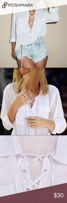 """COMING SOON • White Laceup Blouse available shortly • """"like"""" to be notified • semi-sheer blouse •  new, boutique item • 🎀💕🛍 sabineforever.com for style, beauty and lifestyle inspo Tops Blouses"""