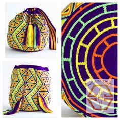 Hermosa Collection Wayuu Bags Handmade by One Thread at a time. Una Hebra Wayuu Mochila Bags of the Finest Quality. Tapestry Bag, Tapestry Crochet, Crochet Cross, Knit Crochet, Mochila Crochet, Crotchet Patterns, Boho Bags, Crochet Purses, Knitting Accessories