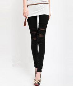 Modern Style Elastic Cotton Net Yarn and Bandage Cross Splicing Slimming Women's Nine-Minute Leggings, BLACK, ONE SIZE in Pants & Shorts | D...