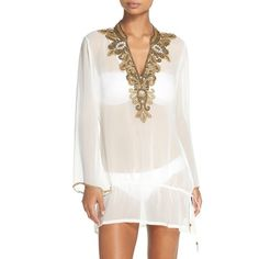Women's Asa Kaftans Casablanca Beaded Tunic ($225) ❤ liked on Polyvore featuring tops, tunics, white, white sheer top, white beaded top, white sheer tunic, sheer tunic and beaded tunic
