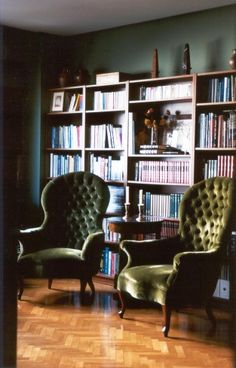 Shelves loaded with books, quiet room, two sturdy chairs covered in luxurious material. The only thing missing is...actually, can't think of anything. Maybe tea. Another nice book nook. Repin, spotted on Pinterest. // Found by: @RandomMagicTour - Sasha Soren