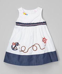 White & Navy Anchor Dress - Toddler & Girls