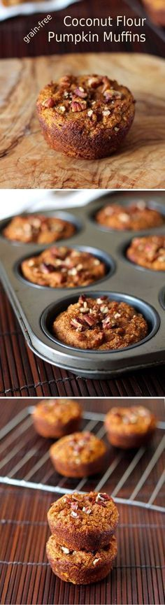 Grain-free Coconut Flour Pumpkin Muffins - this delicious and healthy muffin recipe is gluten free, paleo and low carb with the use of coconut flour. Pumpkin puree and spice give the muffins a great seasonal flavor