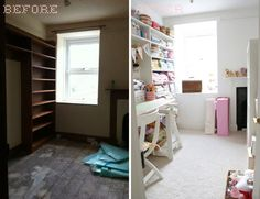 """Craft room makeover -- love all the white!"" #furniture #painting #craftroom #inspiration"