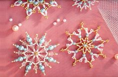 More beaded snowflakes. Pretty easy instructions, but using unique beads.