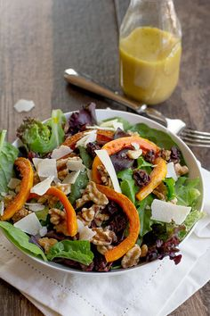 Salads aren't just for summer! This butternut squash salad makes for a lovely savory, sweet, and hearty fall meal.