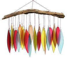 Glass Leaf and Driftwood Chime - bright autumn colors Stained Glass Projects, Stained Glass Art, Mosaic Glass, Fused Glass, Mobiles, Diy And Crafts, Arts And Crafts, Art Crafts, Glass Wind Chimes