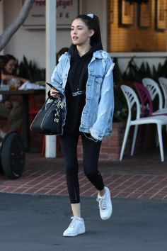 Madison Beer wearing Nike Air Force 1 Sneakers, Givenchy Studded Antigona Bag and Lululemon Fast & Free 7/8 Tights