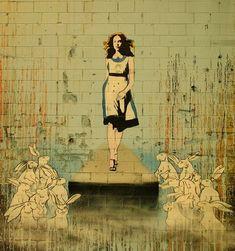 Catwalk Alice - photo by Bouchey, graffiti we THINK by Banksy. If not, it's a Banksy-alike. - We love the idea of Alice as a fashion model here, strutting on the catwalk. Arte Banksy, Banksy Art, Graffiti Artwork, Bansky, Shooting Studio, Inspiration Artistique, Street Art Banksy, Urbane Kunst, Kunst Online