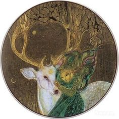 The White Stag in Celtic Tradition is an indicator that the Otherworld is near.  [Susan Seddon Boulet] by Kempton