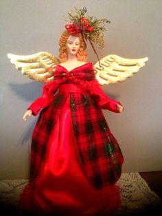 Red Tartan Christmas Angel  Christmas in July  by Divineangelshop