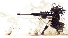 Скачать Арты аниме девушек с оружием 1920x1088 px