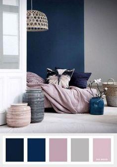 Navy blue mauve and grey color palette color inspiration Home Living Room, Room Design, Blue Living Room, Beautiful Bedroom Colors, Bedroom Interior, Living Room Grey, Bedroom Colors, Bedroom Color Schemes, Color Palette Living Room