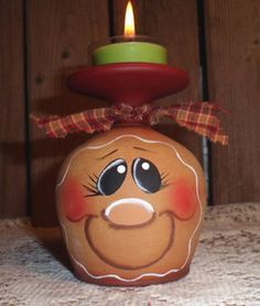 HP Gingerbread Wine Glass Candle Holder Hand Painted | eBay