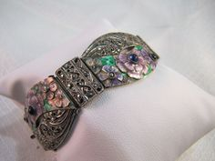 c1920's-30's Germany Sterling Art Deco Floral Enameled Bracelet by newoldjewels on Etsy