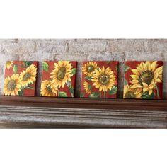 Set of 4 Sunflower Canvas Prints, , large Sunflower Canvas Paintings, Small Canvas Paintings, Canvas Art, Canvas Prints, Sunflower Themed Kitchen, Sunflower Kitchen Decor, Paint And Drink, Sunflower Art, Sunflower Images