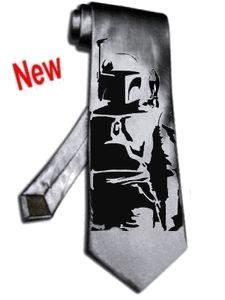 NEW boba fett tie satin silk Silver Grey star wars SOLDIER necktie