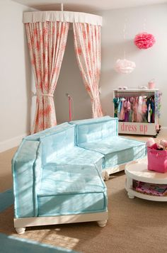 House of Turquoise: Liz Carroll Interiors, little girls room, turquoise couch, sectional,stage in the bedroom