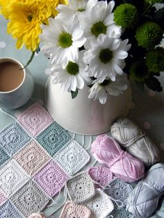 Beautiful pastel colours in these crochet mini squares made by Sharron of Annie's Place.