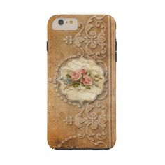 Vintage Embossed Gold Scrollwork and Roses Tough Iphone 6 Plus Case (370 HRK) ❤ liked on Polyvore featuring accessories and tech accessories