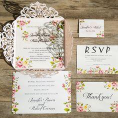 blush pink laser cut floral wedding invitations