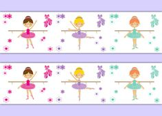 BALLERINA ROOM DECOR Girl Nursery Wallpaper Border Wall Art Decals Baby Dancer Shower Gift Stickers Decorations Pink Purple Dance Bedroom #decampstudios