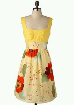 Yellow floral spring dress