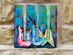 "Hand-painted wall clock. Ceas de perete ""Guitars"""