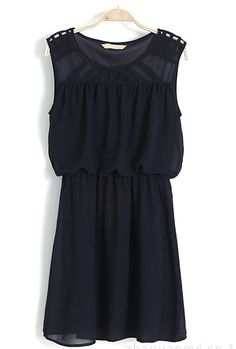 Navy Sleeveless Hollow Shoulder Bandeau Dress US$23.44