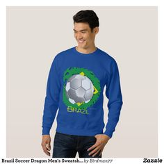 Brazil Soccer Dragon Men's Sweatshirt - Outdoor Activity Long-Sleeve Sweatshirts By Talented Fashion & Graphic Designers - #sweatshirts #hoodies #mensfashion #apparel #shopping #bargain #sale #outfit #stylish #cool #graphicdesign #trendy #fashion #design #fashiondesign #designer #fashiondesigner #style