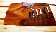 knife leather case-Leather knife Roll-gift for by YaelHeffer