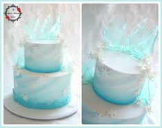 frozen cake Frozen themed cake with edible ice, airbrushing and snowflakes. Client had purchased plastic characters to place on the cake, but I liked it on its own. Bolo Frozen, Torte Frozen, Elsa Torte, Disney Frozen Cake, Frozen Theme Cake, Frozen Themed Birthday Party, 4th Birthday, Elsa Birthday Cake, Frozen Cupcakes