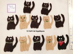 Cat Appliques Handmade Set of 12 Card or tag by ChristieCottage