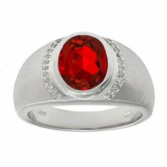 Men's Oval-Cut Ruby and Diamond Ring In Sterling Silver Gemologica.com offers a unique selection of jewelry for men. Our men's jewelry includes bracelets, earrings, rings, chains, pendants and necklaces, and accessories. We offer one of the largest and most discriming selections of mens gemstone and birthstone rings, crafted in silver and 10K, 14K and 18K yellow, white and rose gold. Complete men's fashion jewelry collection here: www.gemologica.com/mens-jewelry-c-28.html