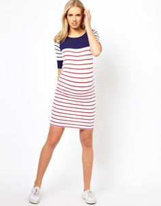 6f4617adbc6c8 Image 4 of ASOS Maternity Exclusive Bodycon Dress with Colour Block Stripe