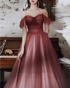 Elegant Burgundy Sequins Prom Dress Evening Dress T1836 Fancy Prom Dresses, A Line Prom Dresses, Tulle Prom Dress, Pretty Dresses, Evening Dresses, Formal Prom, Burgundy, Fashion Dresses, Sequins