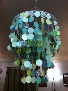 Scrapbook Paper Chandelier #diy #crafts