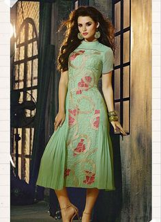 Sky Blue Color with Flower Design Attractive Party Wear Georgette Kurti