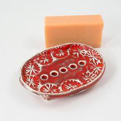 Red Ceramic Soap Dish Handmade Soap Holder Housewarming