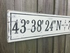 If there is a special place in your heart where memories were made or memories continue to be made, this latitude longitude sign would be perfect. Diy Signs, Wood Signs, Compass App, Contemporary Cabin, Nautical Compass, Drip Painting, Pallet Painting, Latitude Longitude, Geography