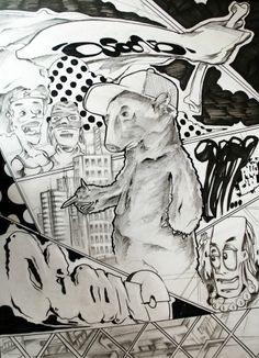 Grafito sobre papel por Manolo Longueira.  Ilustración /  Clase de Arte