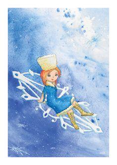 Winter Fairy watercolour art print A5 snowflakes snow by ImbirArt