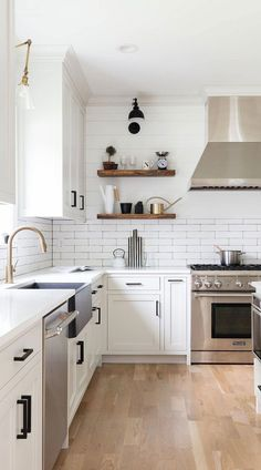 Modern farmhouse kitchen with shiplap half wall kitchen cabinets, interior, home decor, future Modern Farmhouse Kitchens, Farmhouse Style Kitchen, Home Decor Kitchen, New Kitchen, Kitchen Interior, Home Kitchens, Decorating Kitchen, Kitchen Ideas For Apartments, Rustic Farmhouse