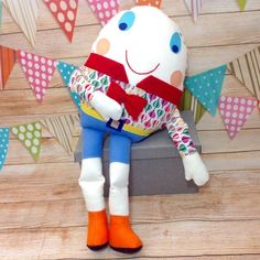 Dumpty, Humpty Dumpty Toy, Humpty Dumpty Doll, Rhyme, Story Book Toy This Humpty Dumpty is a soft toy and isn't afraid of great falls! Ideal gift for chil. Nursery Room Decor, Nursery Rhymes, Handmade Soft Toys, Humpty Dumpty, Thoughtful Gifts, Cuddling, Baby Items, Gifts For Kids, Dinosaur Stuffed Animal